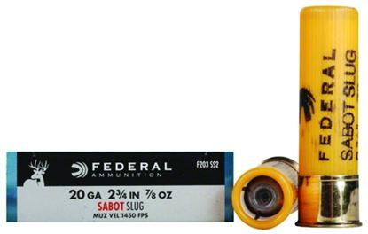 Picture of Federal F203SS2 Power-Shok Sabot Slugs 20 GA, 2-3/4 in, 7/8oz, 1450 fps, 5 Rnd per Box