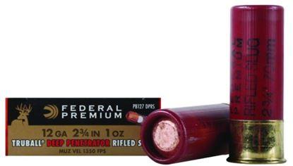 Picture of Federal PB127DPRS Vital-Shok TruBall Rifled Slugs 12 GA, 2-3/4 in, 1oz, 3-1/4 Dr, 1350 fps, 5 Rnd per Box