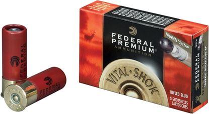 Picture of Federal PB127-RS Vital-Shok TruBall Rifled Slugs 12 GA, 2-3/4 in, 1oz, 4 Dr, 1600 fps, 5 Rnd per Box