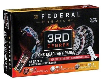 "Picture of Federal PTDX157-567 3rd Degree Turkey Shotshell w/ Flight Control Flex Wad 12 GA 3"" 1 3/4oz 5, 6, 7 SHOT 1250 FPS 5 Rnd Per Box"