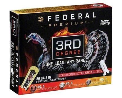 "Picture of Federal PTDX258-567 3rd Degree Turkey Shotshell w/ Flight Control Flex Wad 20 GA 3"" 1 7/16oz 5, 6, 7 SHOT 1100 FPS 5 Rnd Per Box"