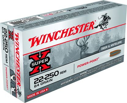 Picture of Winchester X222502 Super-X Rifle Ammo 22-250 REM, Power-Point, 64 Grains, 3500 fps, 20, Boxed