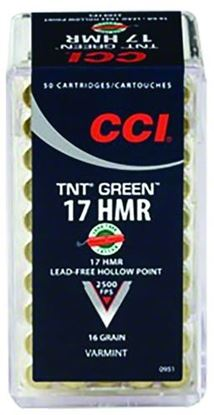 Picture of CCI 0951 TNT Green Rimfire Ammo 17 HMR, HP, 16 Grains, 2500 fps, 50 Rounds, Boxed