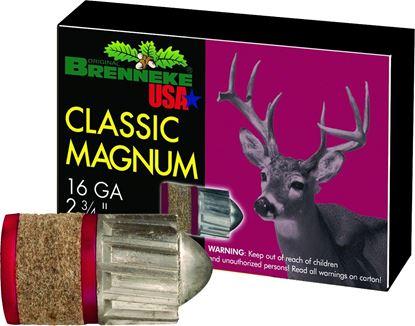 Picture of Brenneke SL-162CLM Classic Magnum Sabot Slugs 16 GA, 2-3/4 in, 1oz, 1480 fps, 5 Rnd per Box