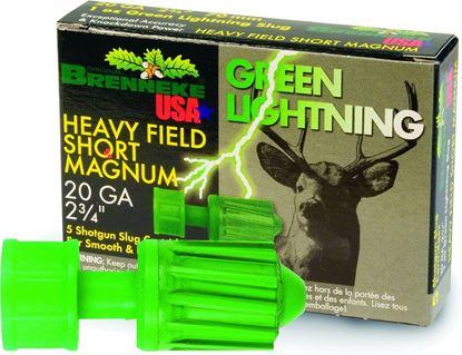 Picture of Brenneke SL-202HFSGL Green Lightning HFSM Rifled Slugs 20 GA, 2-3/4 in, 1oz, 1392 fps, 5 Rnd per Box
