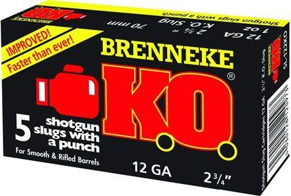 Picture of Brenneke SL-122KO K.O. Rifled Slugs 12 GA, 2-3/4 in, 1oz, 1650 fps, 5 Rnd per Box