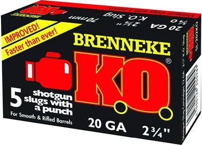 Picture of Brenneke SL-202KO K.O. Sabot Slugs 20 GA, 2-3/4 in, 3/4oz, 1550 fps, 5 Rnd per Box