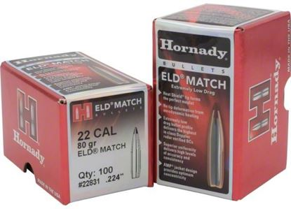 Picture of Hornady 22831 ELD Match Rifle Bullets, 22 CAL .224 80 Gr, 100 Box