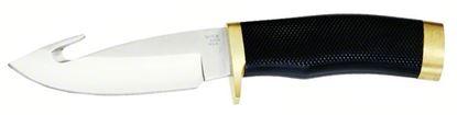 "Picture of Buck 0691BKG Zipper Fixed Blade Knife, 4 1/8"" Guthook Blade, Rubber Handle w/Brass Butt/Guard, Boxed"