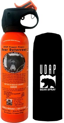 Picture of UDAP 12VHP Safety Orange Bear Spray, 2% CRC, 7.9oz 225gr w/Hip Holster Clampack