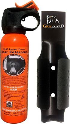 Picture of UDAP 12SO Safety Orange Bear Spray w/Plastic Griz Guard Holster, 30 ft Fog, 2% MC, 7.9 oz, 225 g